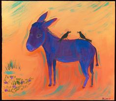 Mexican Folk Art Paintings-Original Artwork Direct From The Artist-RoMy-Terlingua Art Studio: NR Burro Crow Mexico Tin MeXiCaN FoLk ArT RoMy Painting