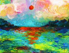 Sunset finger painting by TheEnglishEclectic on Etsy, $500.00