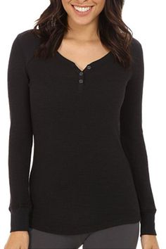 """Black Henley top to pair with pajama bottoms or to wear outside. Ribbed texture with 5 small snaps, long sleeves, and stretch.    Measures 25"""" down the center back (size small).   Black Henley by The Dressing Room. Clothing - Tops - Long Sleeve Clothing - Lingerie & Sleepwear - Sleepwear California"""