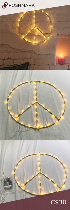 💖 2/$50 Peace sign fairy lights Urban outfitters Super cute fairy light peace sign comes with box! Perfect condition room decor I will include 3 AA battery's so you can use it right away! The top has a hook so it's easy to hang Sold out online from UO Originally $42 from urban outfitters home Urban Outfitters Accessories Light Pink Converse, Urban Outfitters Hats, Sheer Leggings, Knitted Beret, Cute Fairy, Cozy Scarf, Circle Scarf, Teal Colors, Leather Gloves