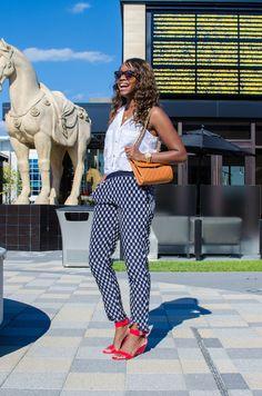 patterned pants + a pop of color