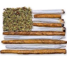 flag made from bud, blunts and joints