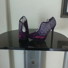 Ed hardy stilettos.  valentines day! Sz 7. Great style detailed, Ed Hardy Shoes Heels