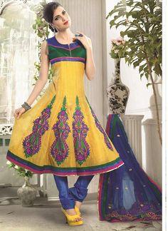 Shop Online Yellow Chanderi Cotton Silk #AnarkaliSuits @Chennaistore.com Anarkali Suits Online Shopping, Salwar Suits Online, Churidar, Salwar Kameez, Silk Anarkali Suits, Ethnic Wedding, Designer Anarkali, Latest Sarees, Indian Ethnic Wear