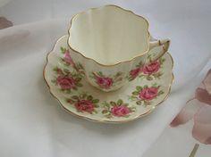 Vintage teacups  Victoria C & E teacups  pink by NewtoUVintage