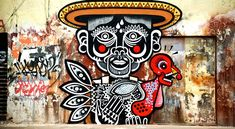 Mexican street art culture These murals are absolutely amazing. Inspired by Mexican culture such as skulls, day of the dead, Papel Picado tales and legends, street artist Neuzz aka Miguel Mejía is worth keeping an eye on. 3d Street Art, Murals Street Art, Amazing Street Art, Street Art Graffiti, Street Artists, 3d Art, Urbane Kunst, Graffiti Artwork, Inspiration Art