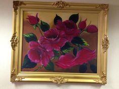 Rosas ... tela pintada por Núbia Siqueira