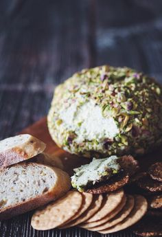vegan pistachio crusted cashew cheeseball by hot for food~obviously no yeast