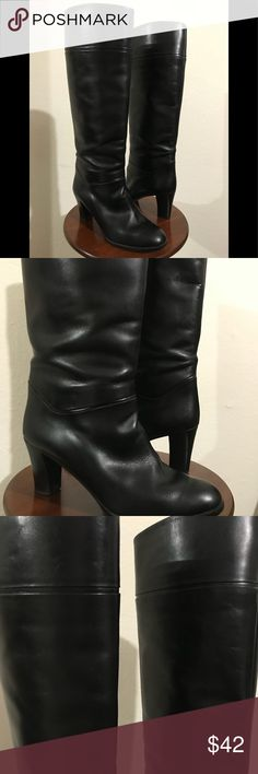 Black leather boots Soft 100% black leather. Made in Italy. Very good condition too. Heel gives them a dressy edge. Very classy & timeless. Size says 39.5 but they fit like 8.5 Strafford for Gilardini Shoes Heeled Boots