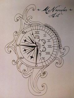 relógio e rosa dos ventos