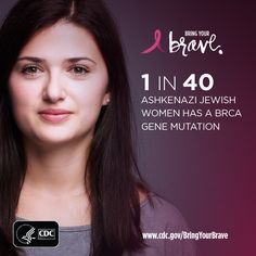 Ashkenazi Jewish women are 10 times more likely to have a or gene mutation than women in the general United States population. Breast Cancer Awareness, Genetics, Breastfeeding, Conversation, First Love, Calendar, Bring It On, Dinner, Health