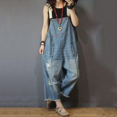 19a8c834f2c Unique Design Distressed Denim Jumpsuits Plus Size Fashion Jean Rompers
