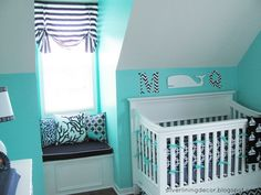 Bright turquoise nautical nursery design for a boy Nautical Nursery Decor, Nautical Baby, Baby Room Decor, Nursery Themes, Nursery Ideas, Turquoise Nursery, Room Ideas, Turquoise Chevron, Nautical Theme