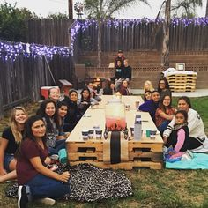 Bonfire party for teen. Pallet table