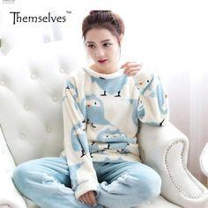 8d7c2e54b6 Winter Women Pajama Sets Round Neck Thick Flannel Pajamas Warm Sleepwear  Pajamas Women Sleepwear Women