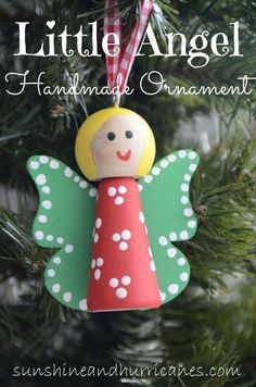 Easy for kids of all ages, the Little Angel Ornaments are a fun handmade craft for a classroom, scout troop, Sunday school or church group. Diy Christmas Decorations, Christmas Angel Crafts, Christmas Tree Ornaments, Holiday Crafts, Christmas Holidays, Christmas Gifts, Xmas, Birthday Decorations, Handmade Christmas