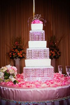 Pink and Bling Cake by Cakes by Diane