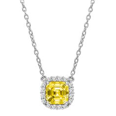 Asscher Cut Necklace with Halo by LAFONN in Platinum-Bonded Sterling Silver with Clear and Canary Simulated Diamonds, MSRP $140.  1.40CTTW