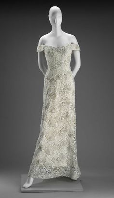 Spring 1988, America - Woman's evening dress by Arnold Scaasi - Cotton lace (?); silk plain weave; rhinestones; plastic