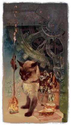 Steampunk siamese cat! Ziffel by MANSYC.deviantart.com on @deviantART