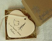 Memorial Porcelain Heart Ornament - Angel Bird with tree. $22.00, via Etsy.
