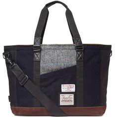 Master-Piece Harris Tweed Slash Tote Bag (Navy)