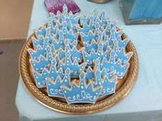 Crown cookies at a Cinderella birthday party! See more party planning ideas at CatchMyParty.com!