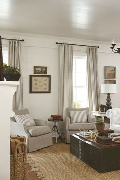 Striped curtains & planked wall