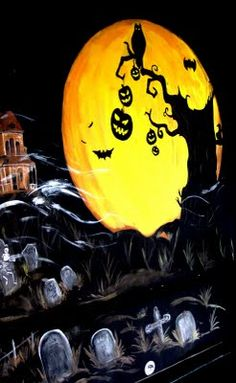 Halloween window painting