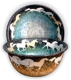 Decorative  ceramic bowls with running horse design on Etsy, $55.00