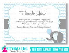 New from Partymazing on Etsy: Baby Shower Thank You Cards Printable Elephant Thank You Note Personalized Chevron Elephant Printable Thank You Cards  D414 (8.00 USD) For more @partymazing