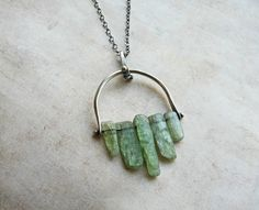 Pinned Raw Green Kyanite Sticks and Silver Pendant by LaFreeBoheme, $66.00