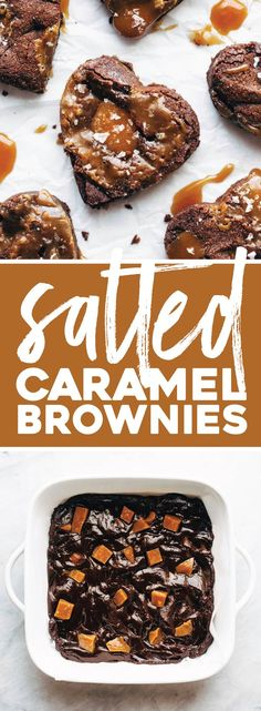 Salted Caramel Brownies ♡ thick, dense, fudgy brownies stuffed with homemade salted caramel.