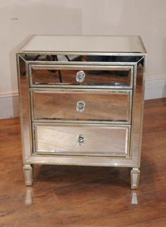 Single Mirrored Night Stand Bedside Chest Table.