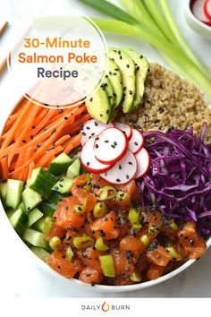 This salmon poke recipe is the perfect combination of sushi, salad and substance. Hawaiian-inspired poke bowls are surprising easy and budget-friendly, too. #poke #pokebowl #pokerecipe #pokebowls via @dailyburn