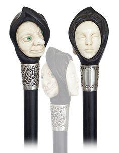 79. Ebony And Ivory Figural Cane-Ca. 1890-Ebony And Ivo : Lot 79