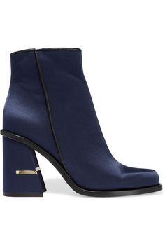 Tibi | Nora leather-trimmed satin ankle boots | NET-A-PORTER.COM