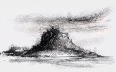 Artist Sean Briggs producing a sketch a day Lindisfarne  #drawing #http://etsy.me/1rARc0J #island #Lindisfarne #sketch