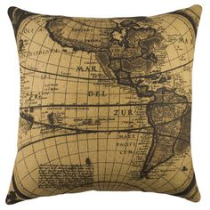 Add a lovely touch to your living room or den with this artfully crafted burlap pillow, showcasing a world map motif in black and beige. Made in the USA. $46