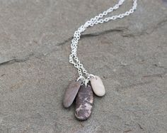 Beach Stone Necklace Sterling Silver Chain. by WahooDesigns