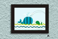 Ocean Theme Print with Whale & Fishes  Beautiful for  by Prints321, $20.00