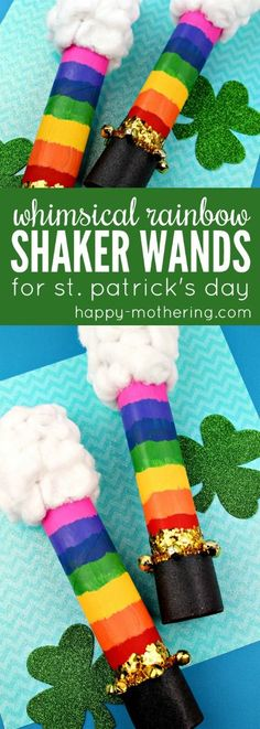 Are you searching for fun St. Patrick's Day crafts for kids? Our DIY Whimsical Rainbow Shaker wand is easy to make at home with parents or in the classroom with teachers. #stpatricksday #kidscraft #craftsforkids #stpatricksdaycraft #rainbows #shaker #toiletpapertube via @happymothering