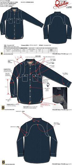 Pauiles denim shirt tech pack created by denimwork