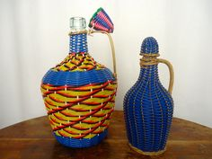 2 Vintage FRENCH Picnic WICKER DECANTER Plastic Basket Weave Masip Bottle Blue Yellow Red Orange Thread French Carafe - StandardFaire