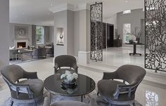 Looking back into the grand entrance hall and formal sitting room at the Wentworth project. SophiePattersoninteriors