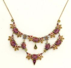 Setty Gallery - Michal Negrin Jewelry Rose Flowers Gold Leaves Necklace, $428 (http://www.settygallery.com/michal-negrin/michal-negrin-jewelry-rose-flowers-gold-leaves-necklace/)