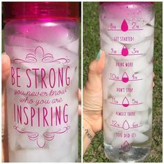 Here's a really cute idea from Motivation Bottles for tracking your water intake throughout the day. #Water #DIY #FitnessTips