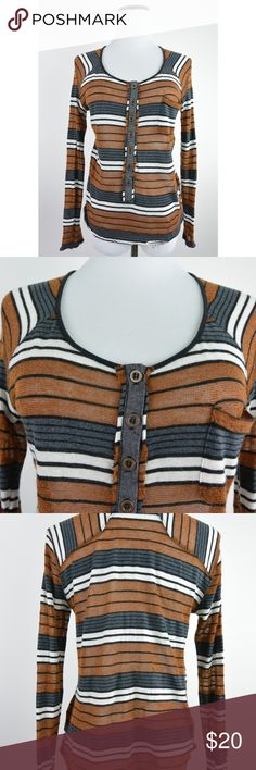 Free People Striped Henley Pocket Tee XS #1563 Stretchable, lightweight knit. Frayed edges that adds the boho character to the top. No material content tag.   Stock: 1563  MEASUREMENTS (in inches): Chest Across (armpit to armpit): 16 Length (down center back): 20.5 Sleeve (armpit to cuff): 17 Free People Tops Tees - Short Sleeve
