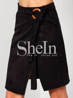 Falda cintura alta con abertura -negro-Spanish SheIn(Sheinside)