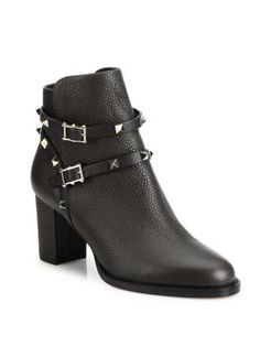 VALENTINO Rockstud Pebbled Leather Block-Heel Booties. #valentino #shoes #boots